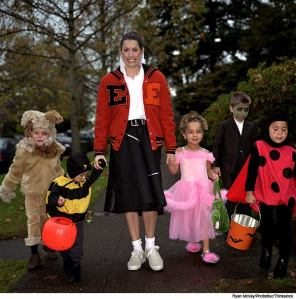 Accompany young children on their Halloween rounds.